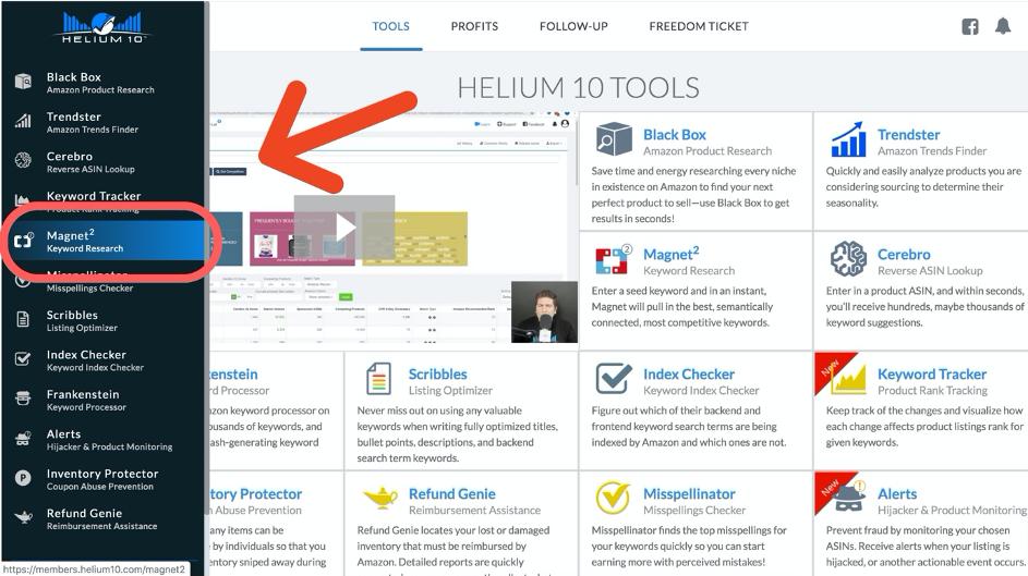 Keyword Recherche Tool: Magnet von HELIUM 10