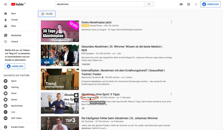 Nischen finden auf YouTube