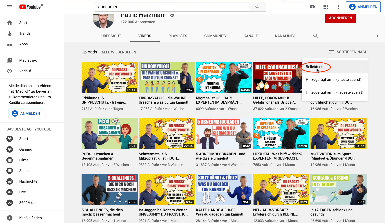 Nischen finden durch YouTuber