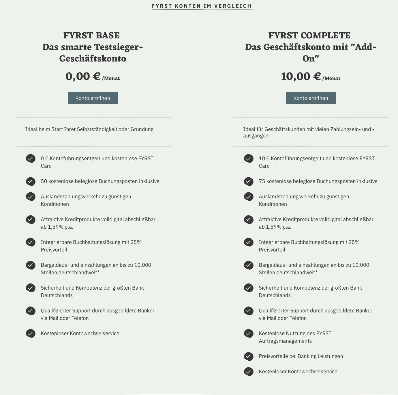 FYRST im Geschäftskonto Vergleich (Pricing-Modelle)