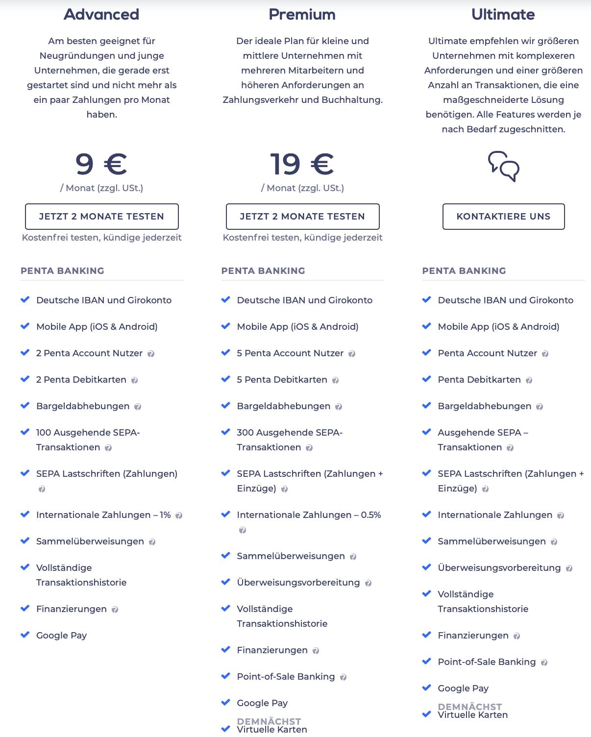 PENTA im Geschäftskonto Vergleich (Pricing-Modelle)