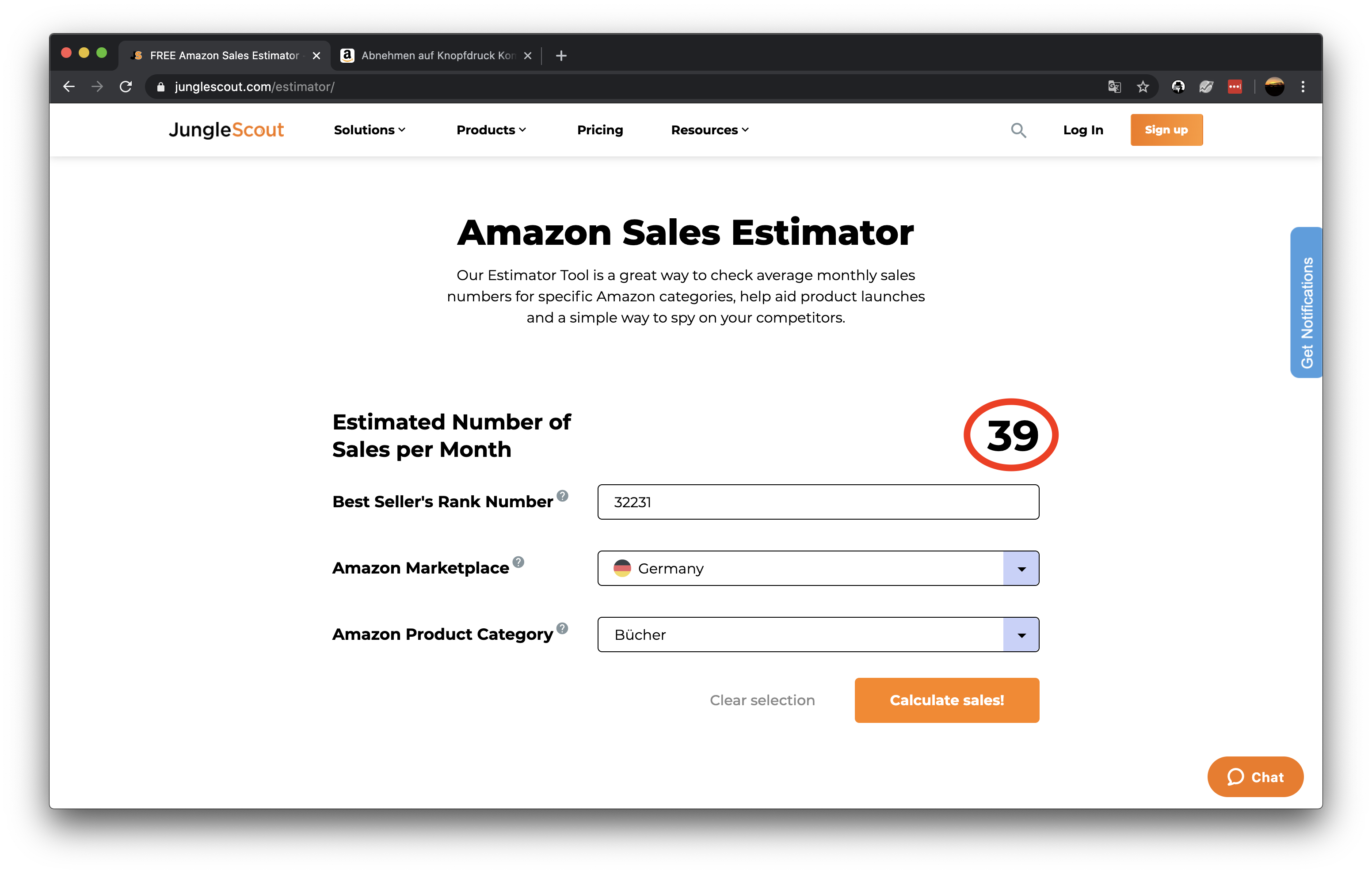 Amazon Nische finden und BSR analysieren  mit dem Sales Estimator