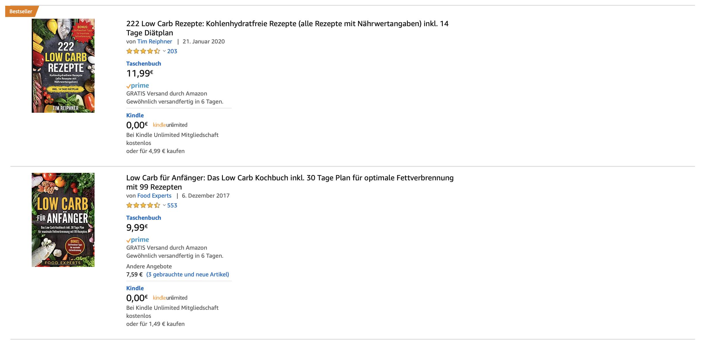 Ähnliche eBook Cover in Amazon-Suchergebnissen